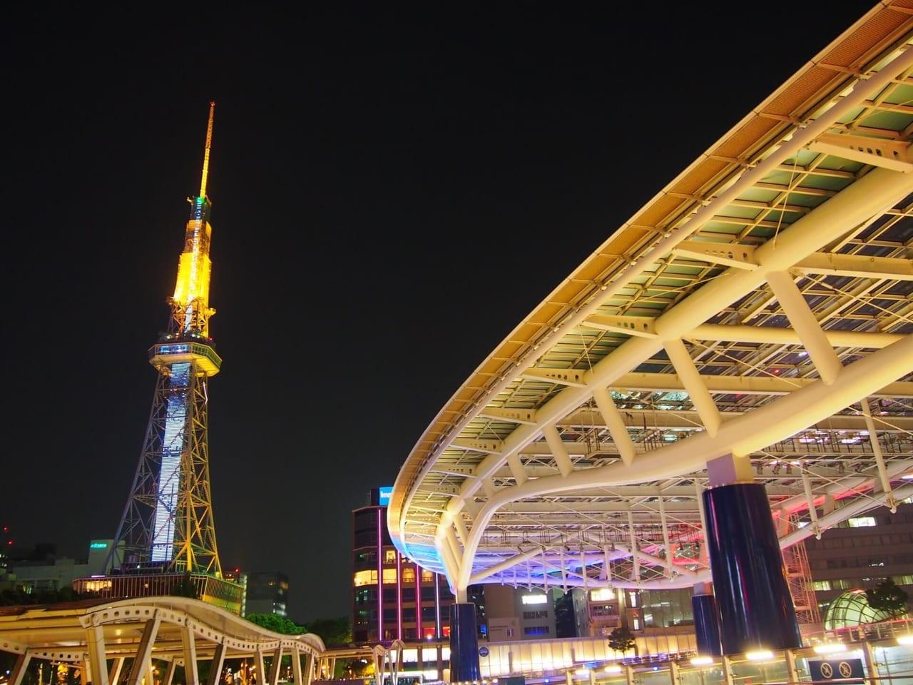 夜のオアシス21とテレビ塔