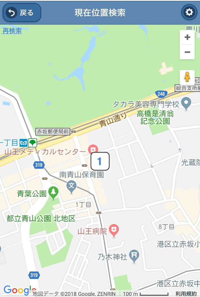 GPSでの現在地表記地図